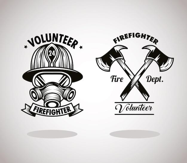 Icone dei distintivi dei vigili del fuoco volontari