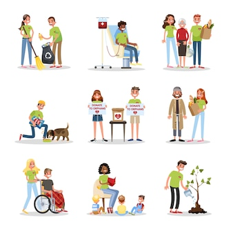 Volontariato aiutare le persone a impostare. raccolta di beneficenza