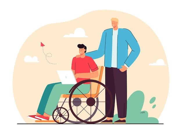 Volontariato che aiuta l'uomo nell'illustrazione piana della sedia a rotelle