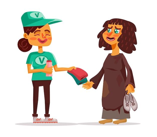 Illustrazione di cartone animato piatto volontario e senzatetto