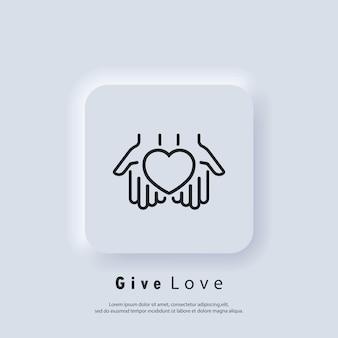 Icona di volontariato. dai l'icona dell'amore. mani che tengono il cuore. relazione. concetto di amore. simbolo del cuore. vettore. pulsante web dell'interfaccia utente di neumorphic ui ux bianco. neumorfismo