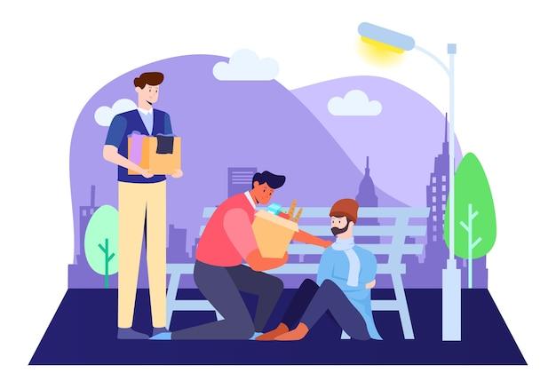 Illustrazione volontaria, facendo beneficenza per i senzatetto.