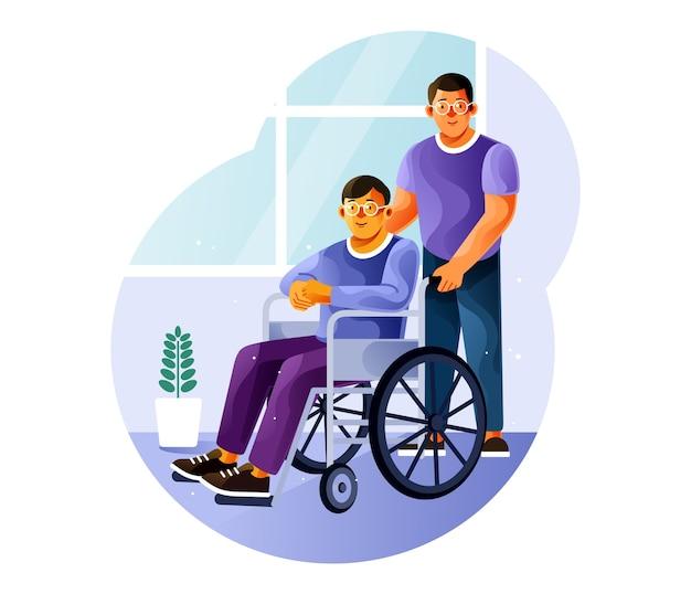 Il volontario è con un giovane su una sedia a rotelle