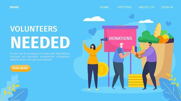 Volontariato necessario concetto di cartone animato, illustrazione. il personaggio della comunità di beneficenza organizza un aiuto di donazione per i social