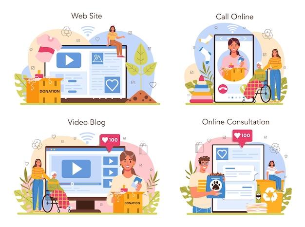 Servizio di volontariato online o set di piattaforme per il supporto dell'assistente sociale vecchio