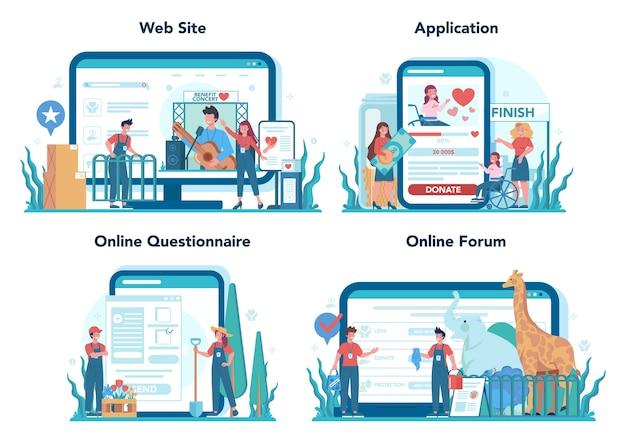 Servizio online volontario o set di piattaforme