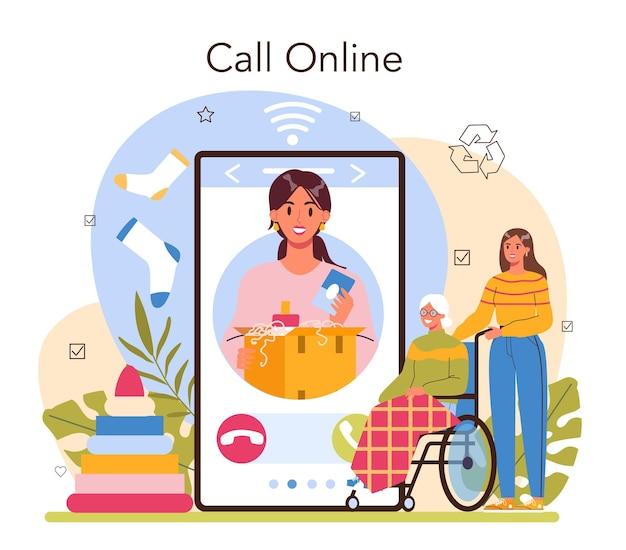 Servizio di volontariato online o piattaforma di supporto per assistente sociale vecchio