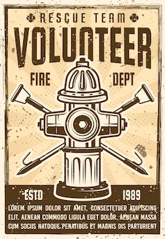 Poster vintage di promozione della squadra di soccorso volontario con idrante e due ganci incrociati. illustrazione con texture grunge e testo del titolo su un livello separato