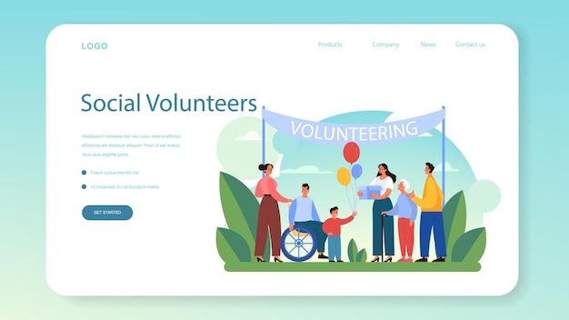 Banner web volontario o pagina di destinazione. illustrazione piatta vettoriale