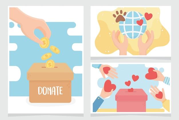 Fare volontariato, aiutare la carità a donare carte del mondo animale per la cura dell'amore