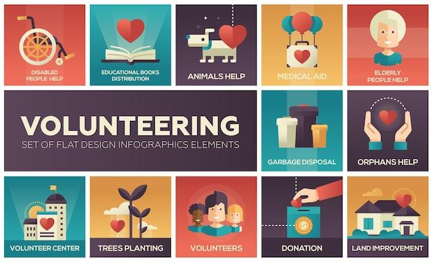 Volontariato - set di elementi di infografica design piatto. aiuto disabili e anziani, distribuzione libri didattici, animali, assistenza medica, smaltimento rifiuti, orfani, piantagione alberi, donazione