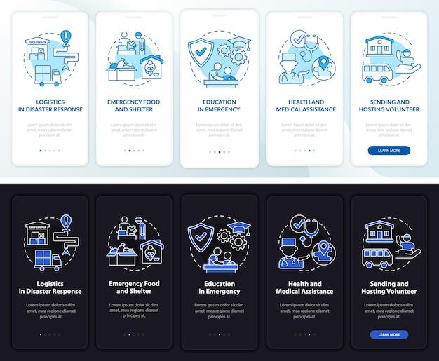 Volontariato a supporto della schermata della pagina dell'app mobile onboarding. assistenza sanitaria 5 passaggi istruzioni grafiche con concetti. modello vettoriale ui, ux, gui con illustrazioni lineari in modalità giorno e notte