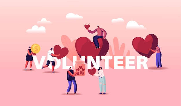 Volontari illustrazione di beneficenza. piccoli personaggi maschili o femminili gettano enormi cuori e monete nella scatola per le donazioni