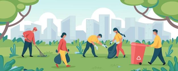 I volontari puliscono la spazzatura