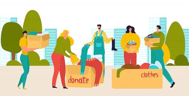 I volontari donano persone con scatole di panni e cose, aiuto sociale, beneficenza, cura dei senzatetto e supporto illustrazione piatta.