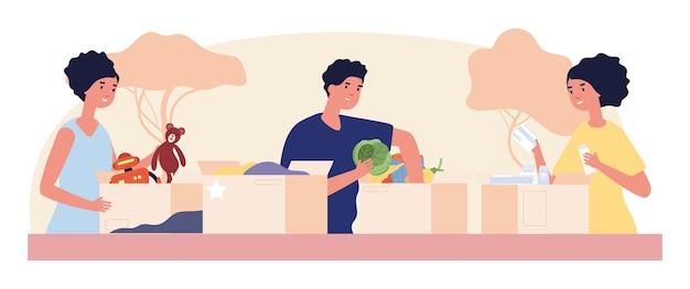 Volontari e cassette per le donazioni. le persone raccolgono beneficenza, vestiti, cibo, giocattoli, medicine per i bisognosi. concetto di vettore di aiutanti sociali. donazione e beneficenza, l'assistente sociale raccoglie l'illustrazione delle donazioni