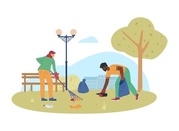 Volontari o ecologisti che raccolgono l'illustrazione piana di vettore dell'immondizia isolata
