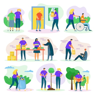 Volontari aiutano e beneficiano insieme con la cura delle persone, aiutando seniours, invalidi e poveri, set di illustrazioni di sostegno sociale. volontariato in comunità, donazione e volontariato.