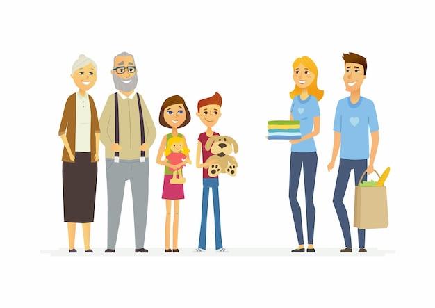 I volontari aiutano i bambini e gli anziani - i caratteri della gente del fumetto hanno isolato l'illustrazione su fondo bianco. due giovani assistenti sociali danno prodotti alimentari e vestiti a pensionati e bambini