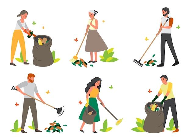 Volontari che raccolgono spazzatura nel set del parco. ecologia e concetto di cura dell'ambiente. idea di riutilizzo dei rifiuti. raccolta dei rifiuti con la famiglia.