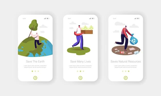 Volontari che salvano il modello di schermo a bordo della pagina dell'app mobile earth nature