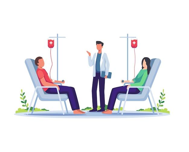 Volontari seduti sulla sedia dell'ospedale medico che donano il sangue illustrazione della giornata mondiale del donatore di sangue
