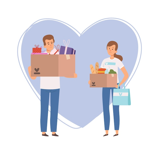 Volontari con scatola di donazione. cibo natalizio e confezioni regalo, patrocinio o beneficenza. cartoon uomo donna dal servizio di aiuto sociale illustrazione vettoriale. beneficenza e donare aiuto, assistenza volontaria