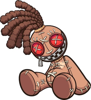 Bambola voodoo con i dreadlocks seduta