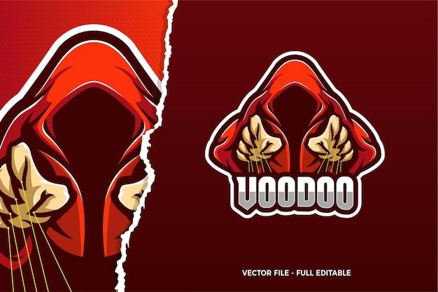 Modello di logo del gioco voodoo e-sport