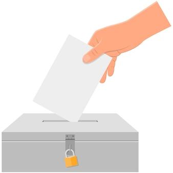 Casella di voto e mano elettorale con icona di carta vettoriale