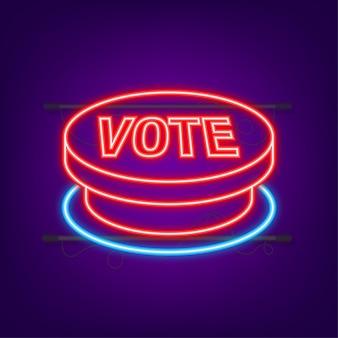 Pulsante di voto. fare clic sull'icona della mano. icona del clic del dito. icona al neon. illustrazione di riserva di vettore.