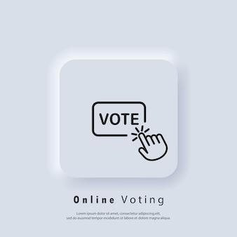 Vota il logo. icona di voto online. fare clic con la mano sull'icona della linea del pulsante di voto. vettore. icona dell'interfaccia utente. pulsante web dell'interfaccia utente bianca ui ux neumorphic. neumorfismo