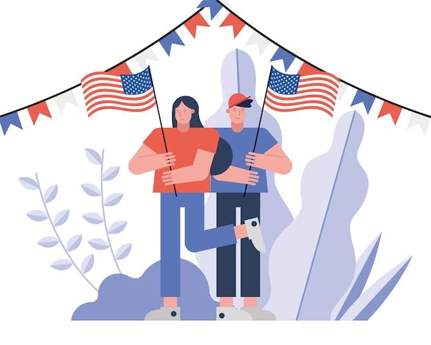 Coppia di elettori con disegno di illustrazione vettoriale di giorno delle elezioni bandiere usa