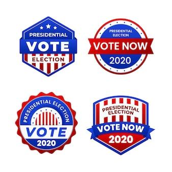 Collezione di badge e adesivi per il voto