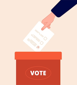 Casella di voto. giorno del voto, confezione elettorale. la mano tiene la scheda elettorale