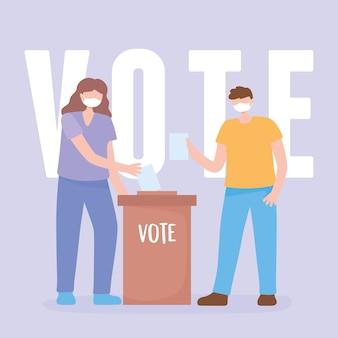 Votazione ed elezione, coppia con maschera e voto in carta e scatola di cartone