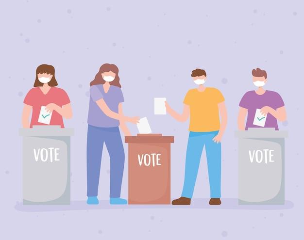 Votazioni ed elezioni, gruppo di persone con maschere che mettono schede cartacee