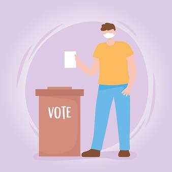 Voto ed elezione, ragazzo con scheda elettorale mascherina medica e box