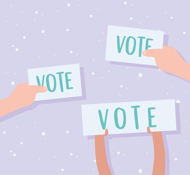 Voto ed elezione, mani che tengono voto cartaceo