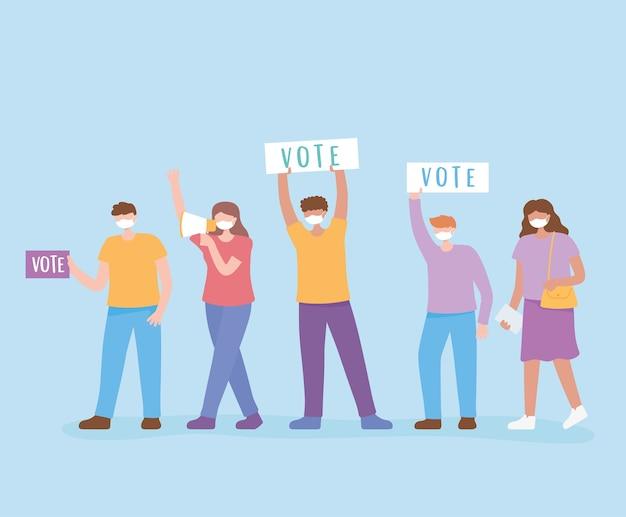 Votazioni ed elezioni, le persone con la maschera di attivisti chiedono voti