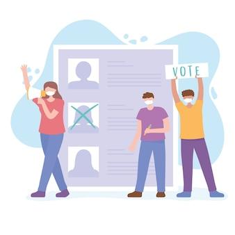 Votazioni ed elezioni, persone con la maschera in campagna elettorale, lista dei candidati
