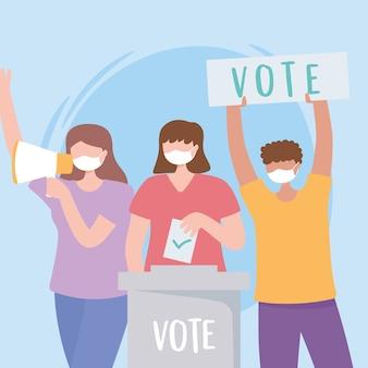 Votazioni ed elezioni, le persone con la maschera danno il voto e inseriscono il voto cartaceo nel vettore delle urne