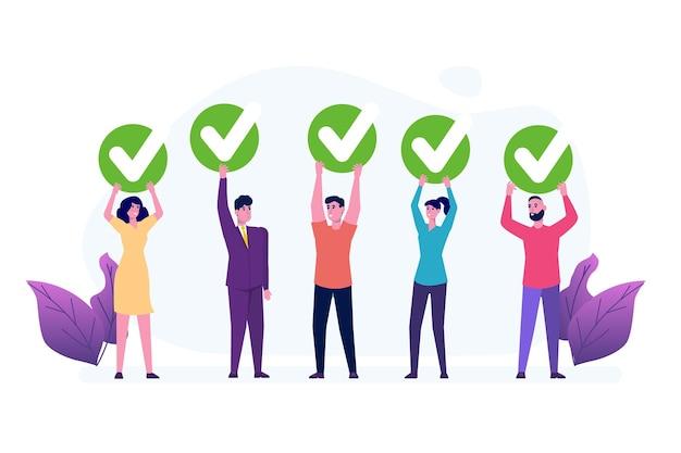 Voto online, voto elettronico, modello di sistema internet elettorale. persone che tengono l'icona di voto. concetto di feedback dei clienti.