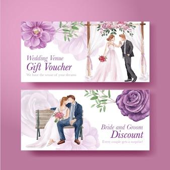 Modello di buono con concetto di matrimonio viola lilla, stile acquerello