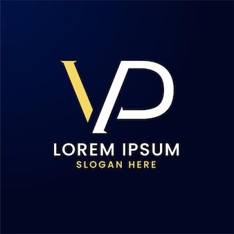 Logo della lettera vp in semplice stile minimalista