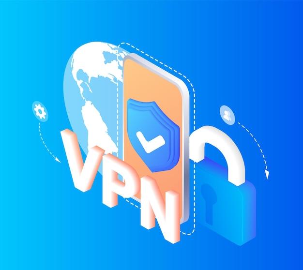 Concetto di servizio vpn utilizzo di vpn per proteggere i suoi dati personali nella rete privata virtuale del computer