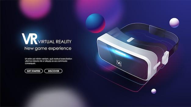 Dispositivi vr, occhiali virtuali, occhiali per realtà virtuale, dispositivi per giocare ai videogiochi elettronici nello spazio cibernetico digitale. poster futuristico.