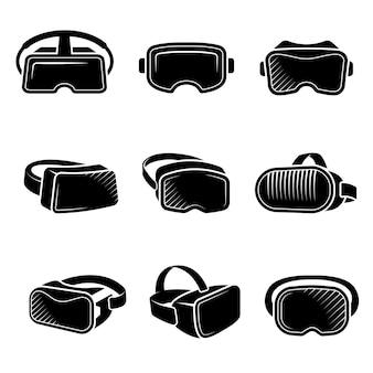 Vr tecnologia futura per il set di design del logo delle cuffie da intrattenimento per attrazioni di gioco