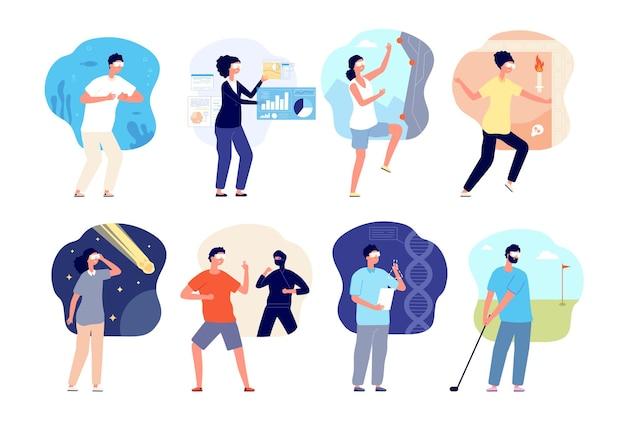 Intrattenimento con occhiali vr. attrezzature da gioco, persone in cuffia divertente per il tempo libero. realtà aumentata, set vettoriale di giochi digitali per adolescenti isolati. illustrazione della tecnologia del cyberspazio di intrattenimento dell'illustrazione