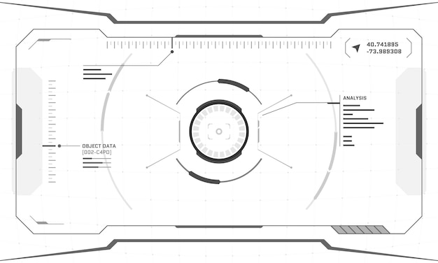 Progettazione dello schermo cyberpunk dell'interfaccia futuristica digitale di vr hud su priorità bassa bianca. la tecnologia di realtà virtuale di fantascienza visualizza il display head-up. illustrazione vettoriale del pannello del cruscotto dell'interfaccia utente della gui della tecnologia digitale